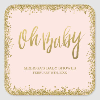 Oh Baby Blush Pink Gold Glitter Baby Shower Square Sticker