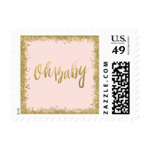 Oh Baby Blush Pink Gold Glitter Baby Shower Stamp