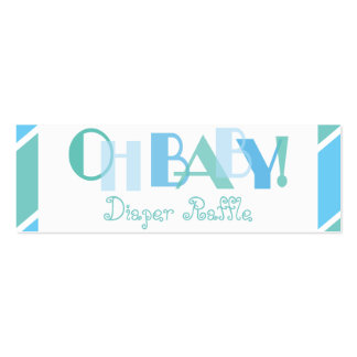 Oh Baby Boy Blue Modern Diaper Raffle Double-Sided Mini Business Cards (Pack Of 20)