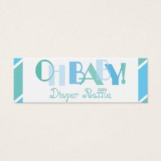Oh Baby Boy Blue Modern Diaper Raffle Mini Business Card