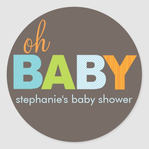 Oh Baby Boy Modern Baby Shower Sticker