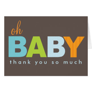 Oh Baby Boy Modern Baby Thank You Note Card