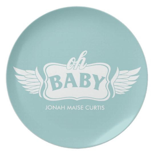 Oh Baby Boy Personalized Shower Gift Plate