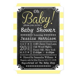 Oh Baby! Chalkboard & Yellow Stripe Baby Shower Card