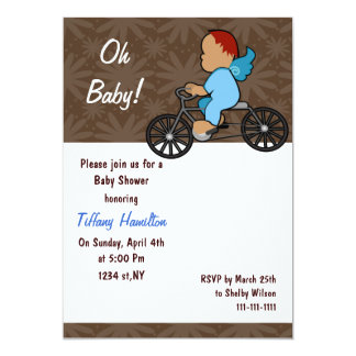 oh baby! chocolate blue boy Baby shower Card