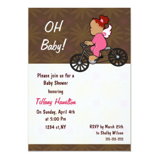 oh baby! chocolate pink girl Baby shower Card