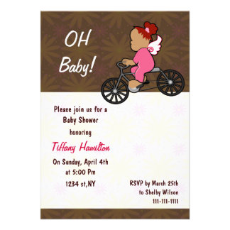 oh baby! chocolate pink girl Baby shower Announcements