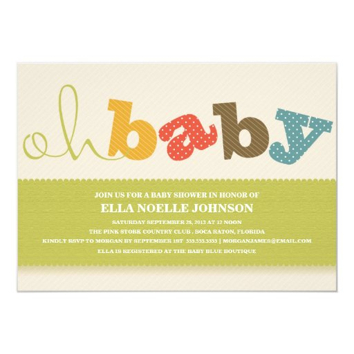 OH BABY! COLORFUL BABY SHOWER INVITATION