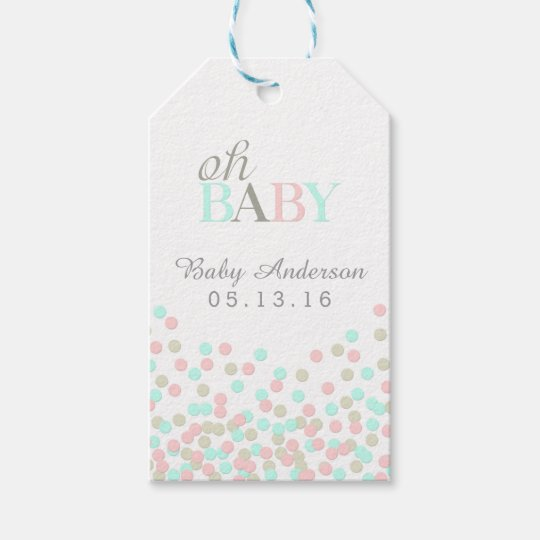 Oh Baby Confetti Baby Shower Gift Tag Pink Blue