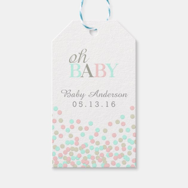 oh baby confetti baby shower gift tag pink blue  zazzle, Baby shower