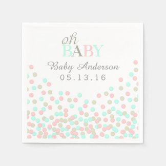 Oh Baby Confetti Baby Shower Napkin | Pink Blue