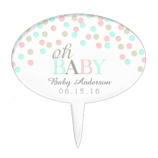 Oh Baby Confetti Cake Topper | Pink Blue