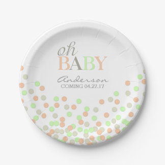 Oh Baby Confetti Gender Reveal Party | Coral Mint Paper Plate