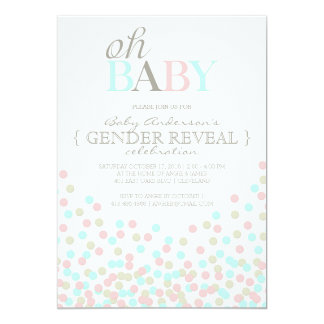 Oh Baby Confetti Gender Reveal Party   Pink Blue 5x7 Paper Invitation Card