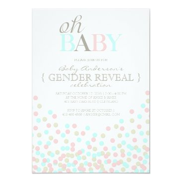 Toddler & Baby themed Oh Baby Confetti Gender Reveal Party | Pink Blue Card