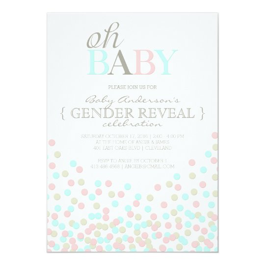 Oh Baby Confetti Gender Reveal Party Pink Blue Card – Baby Gender Reveal Party Invitations