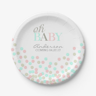 Oh Baby Confetti Gender Reveal Party | Pink Blue Paper Plate at Zazzle
