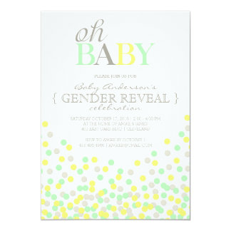 Oh Baby Confetti Gender Reveal Party | Yellow Aqua Card