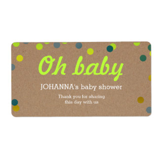 Oh Baby Confetti Kraft Paper Water Bottle Favor Label