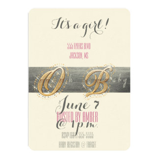 Oh Baby! Diamond lettering with Grey Leather Touch 5x7 Paper Invitation Card