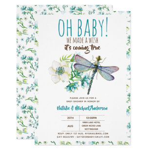 Oh Baby DRAGONFLY Make A Wish Baby Shower Floral Invitation