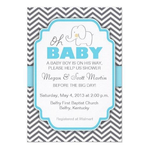 oh baby elephant blue gray baby shower invite 3 5 x 5 inv