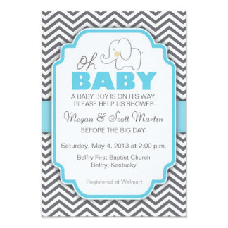 Oh Baby Elephant - Baby Shower Invite Personalized Invite
