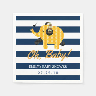 Oh Baby Elephant Navy Blue Stripes Baby Shower Paper Napkin