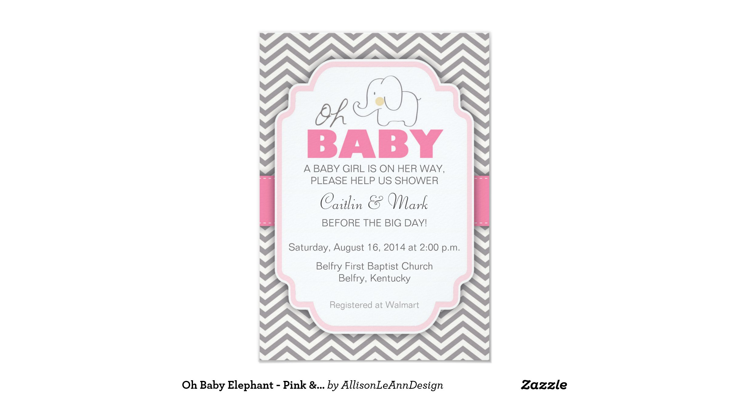 oh baby elephant pink gray baby shower invite