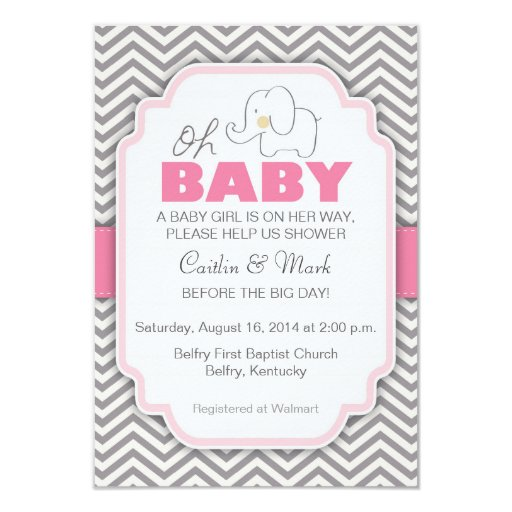 Oh Baby Elephant   Pink U0026 Gray Baby Shower Invite