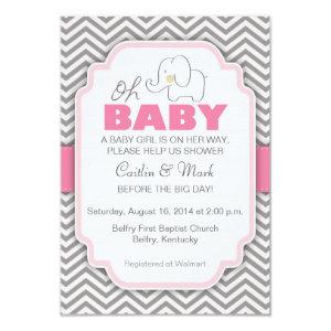 Oh Baby Elephant   Pink U0026 Gray Baby Shower Invite 3.5
