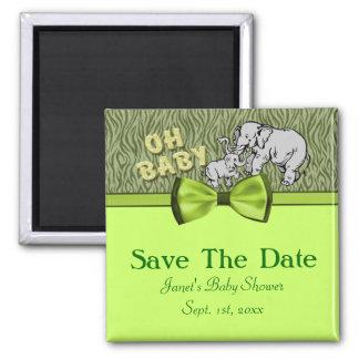 Oh Baby Elephants Zebra Print Baby Shower Magnet