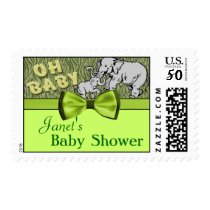 Oh Baby Elephants Zebra Print Baby Shower Postage