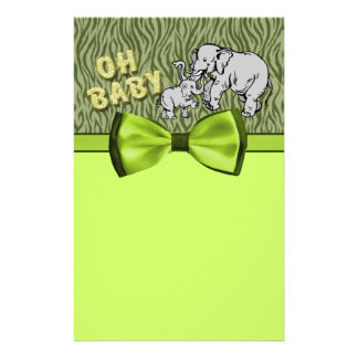 Oh Baby Elephants Zebra Print Baby Shower Stationery