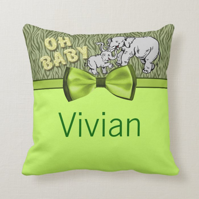 Oh Baby Elephants Zebra Print Baby Shower Throw Pillow