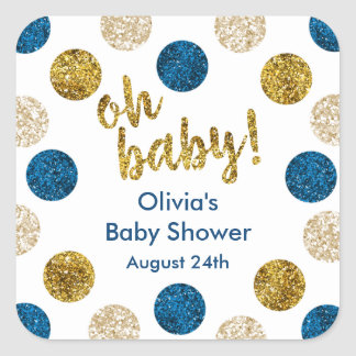 Oh Baby Favor Tag, Navy and Gold Glitter Square Sticker