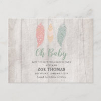 Oh Baby Feathers Boho Baby Shower Save The Date Invitation Postcard