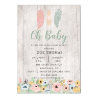 Oh Baby Feathers Floral Boho Baby Shower Invitation