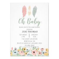 Oh Baby Feathers Flowers Boho Baby Shower Invitation
