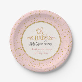 OH BABY Girl Baby Shower Gold Confetti Typography Paper Plate