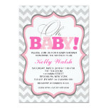 Oh Baby Girl Baby Shower Invitations Chevron Custom Announcements