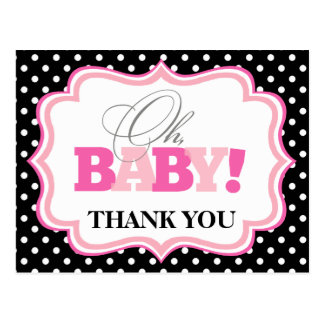 Oh Baby Girl Baby Shower Thank You Postcard