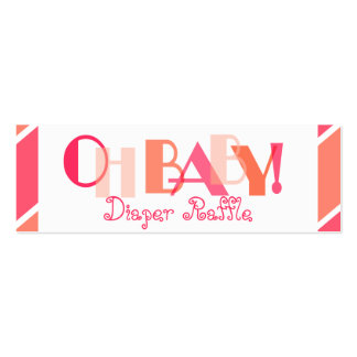 Oh Baby Girl Coral Modern Diaper Raffle Double-Sided Mini Business Cards (Pack Of 20)