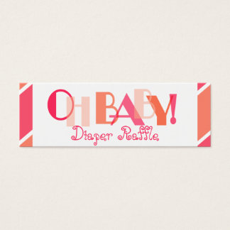 Oh Baby Girl Coral Modern Diaper Raffle Mini Business Card
