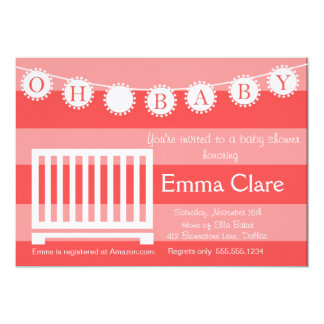 Oh, Baby Girl 5x7 Paper Invitation Card