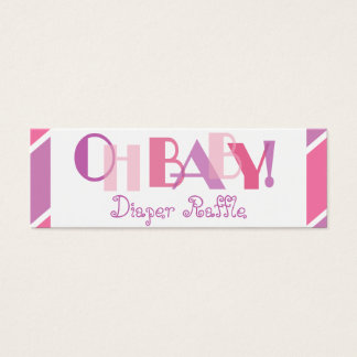 Oh Baby Girl Pink Modern Diaper Raffle Mini Business Card