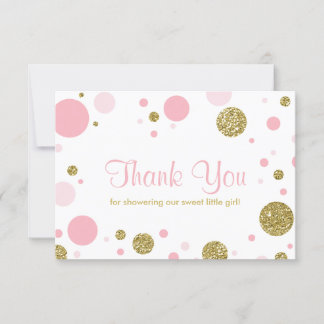 Oh Baby Girl, Thank You Card, Faux Glitter