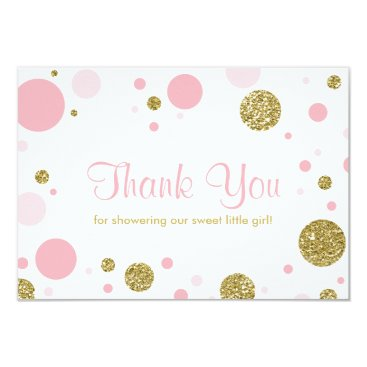 Toddler & Baby themed Oh Baby Girl, Thank You Card, Faux Glitter Card