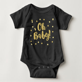 Oh Baby | Gold Faux Glitter Confetti Dots Baby Bodysuit