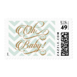 Oh Baby - Gold glitter and Mint Chevron Stamp